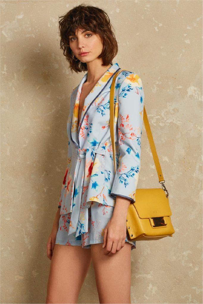 short y kimono de crepe estampado Uma verano 2020