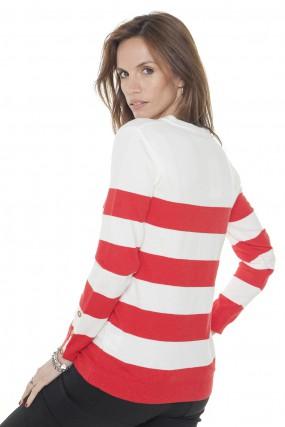 sweater tejido blanco y rojo primavera verano 2020 Mujer Nuss tejidos