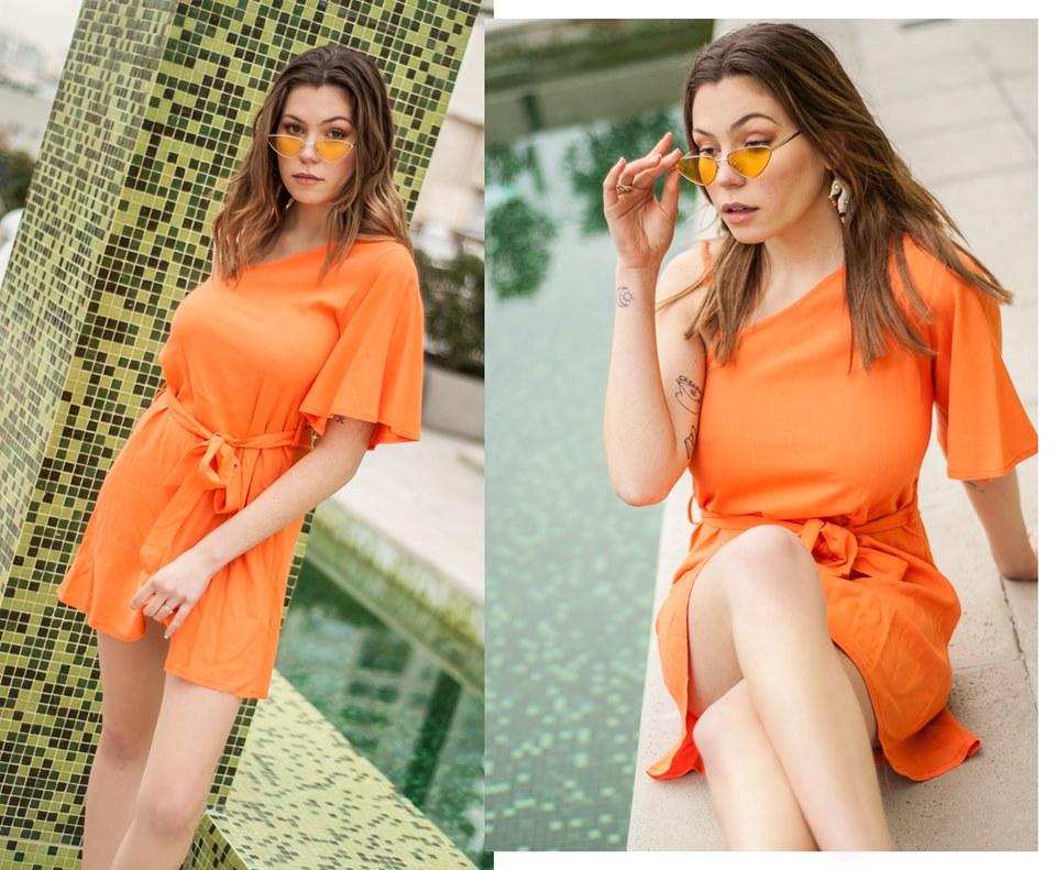 vestido corto naranja casual Tramps verano 2020