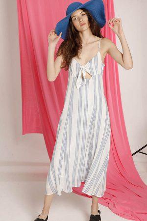 Vestido de lino a rayas Materia Verano 2020