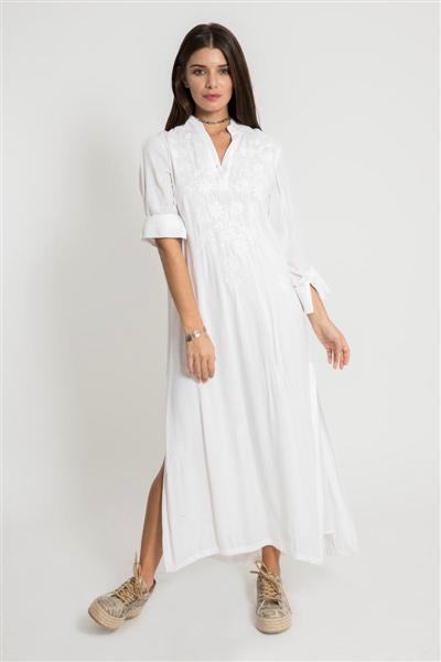 Vestidos largos blanco estilo tunica verano 2020 Santa Bohemia