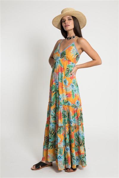 Vestidos largos estampa tropical primavera verano 2020 Santa Bohemia
