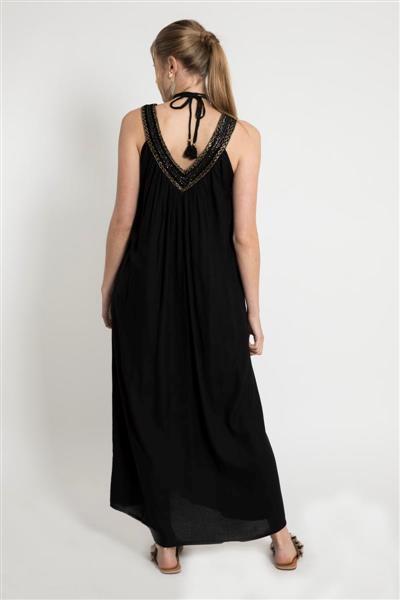 Vestidos largos negro para el dia primavera verano 2020 Santa Bohemia