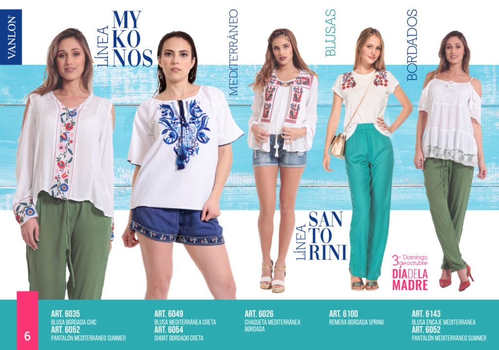 camisolas y remeras bordadas en hilo Vanlon verano 2020