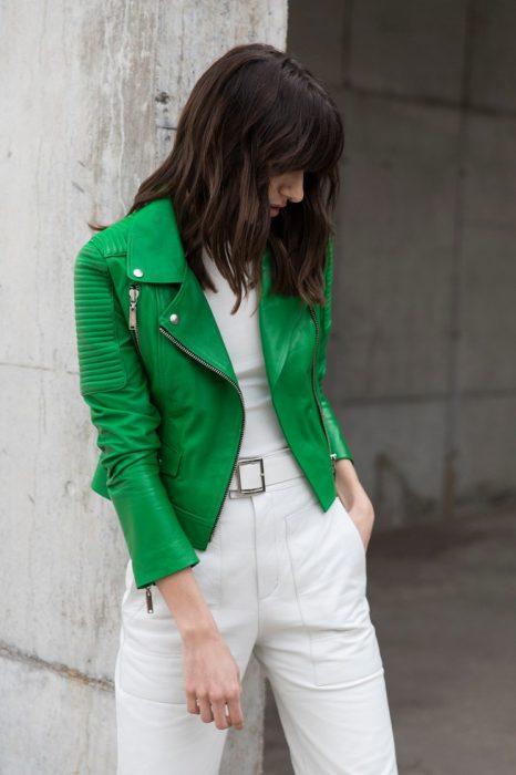 campera verde de cuero mujer Boken verano 2020