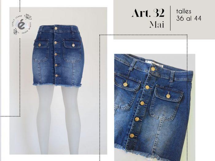 minifalda jeans con botones mujer ecole verano 2020