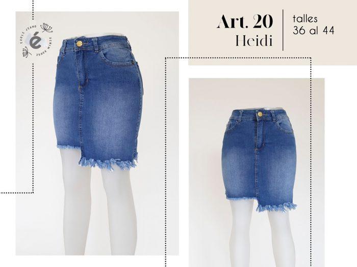 pollera jeans desflecada asimetrica mujer ecole verano 2020