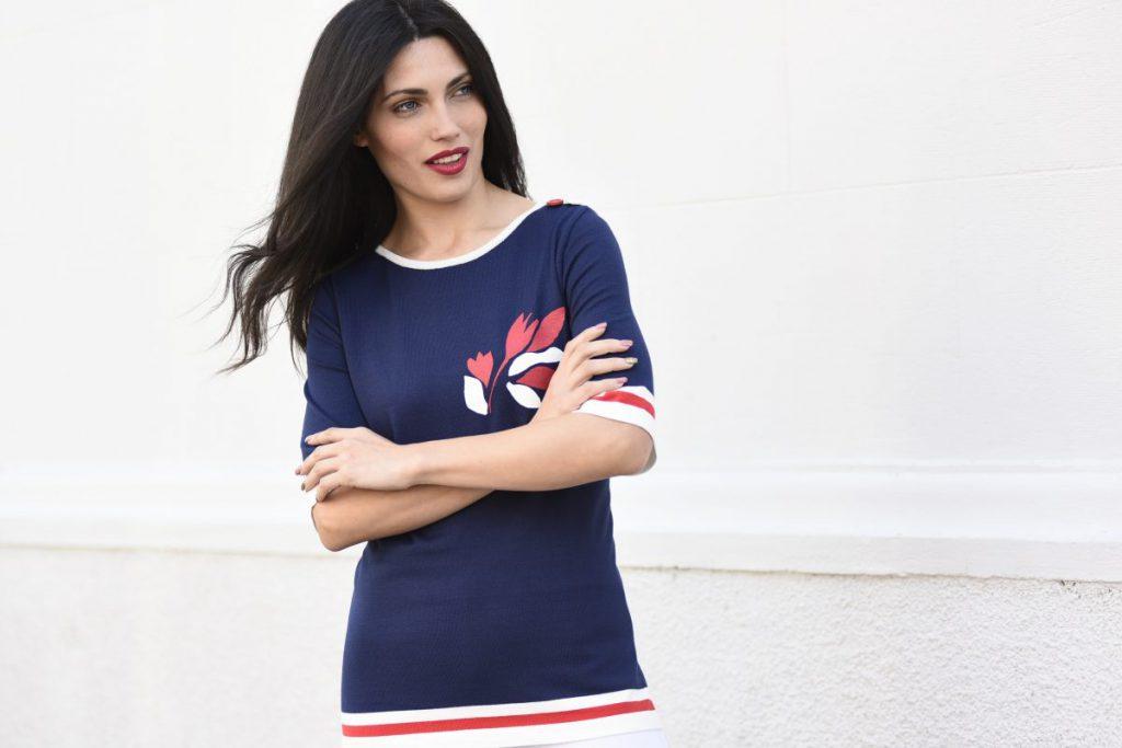 remera azul mangas cortas de hilo para señoras Di Madani Sweaters vereano 2020