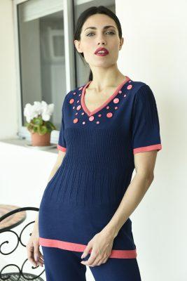 remera mangas cortas azul con rosa coral hilo Di Madani Sweaters vereano 2020