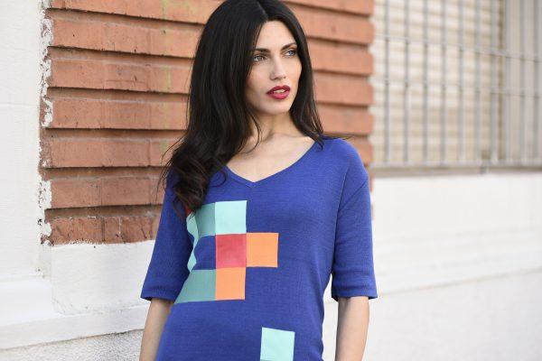 remera mangas cortas con estampas a cuadro Di Madani Sweaters vereano 2020