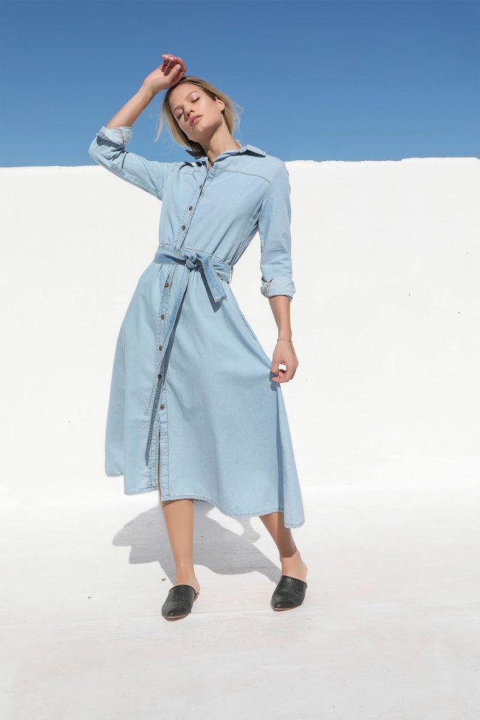 vestido camisero denim Cenizas verano 2020