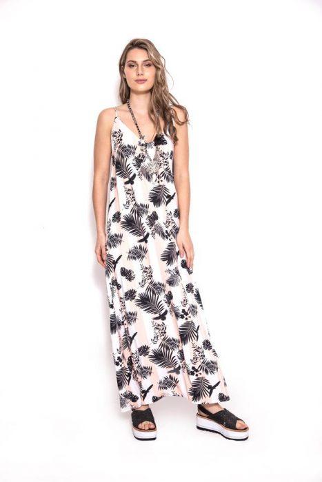 vestido casual largo estampado sophya verano 2020