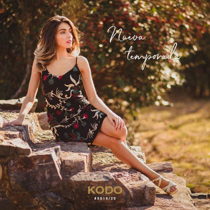 vestido corto en fibrana estampada kodo jeans verano 2020