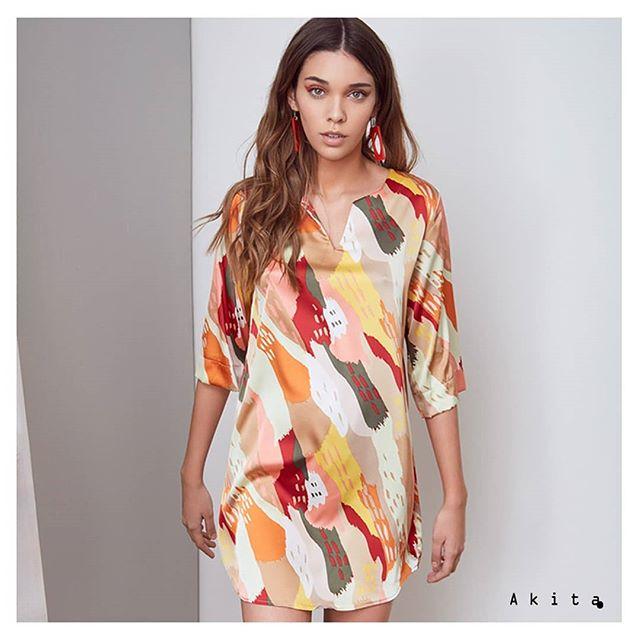 vestido corto estilo tunica para el dia Akita verano 2020