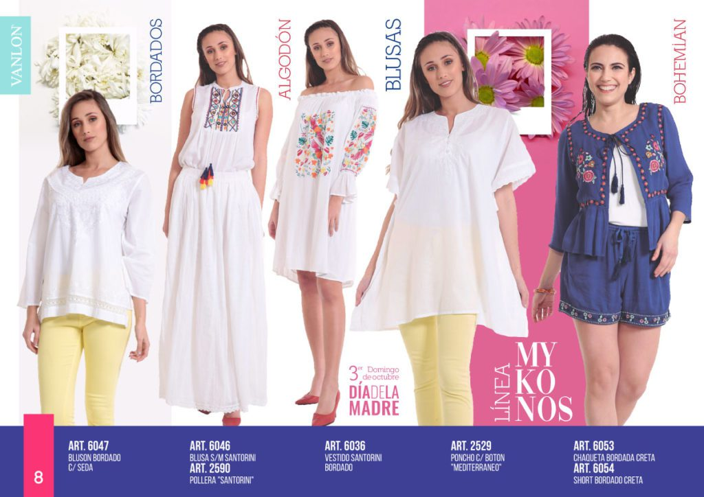 vestidos camisolas y saquitos bordados en hilo Vanlon verano 2020