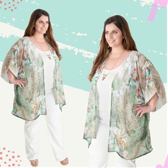 blusa kimono de gasa estampada verano 2020 Portofem