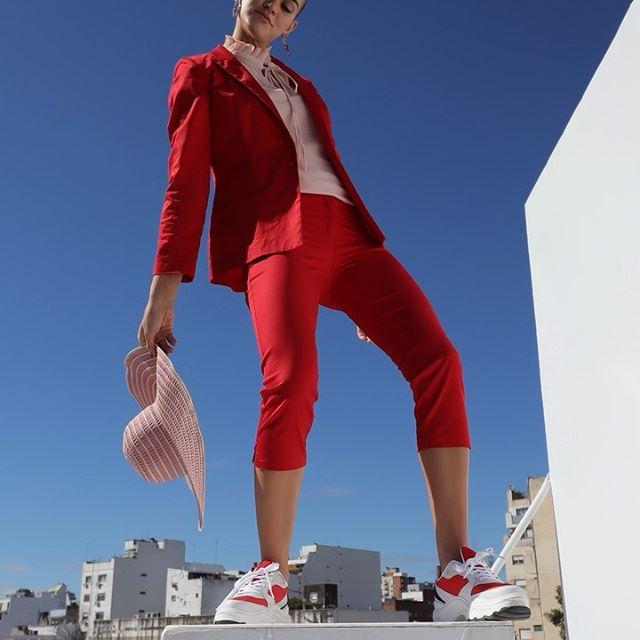 conjunto traje rojo mujer pantalon capri Anna Rossatti verno 2020