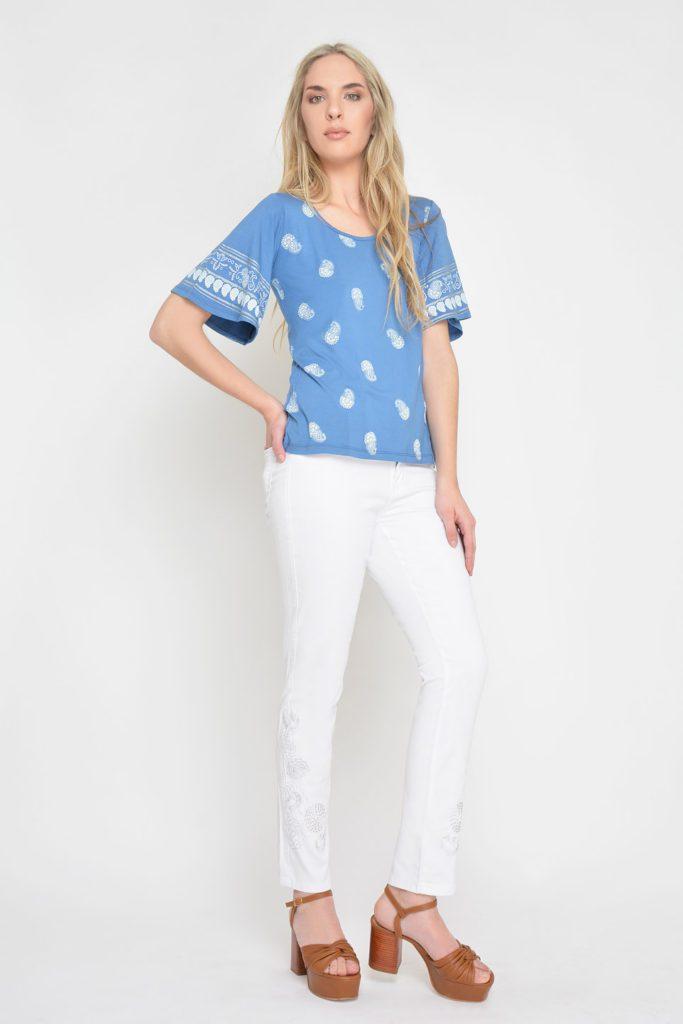 jeans blanco bordado Moravia verano 2020