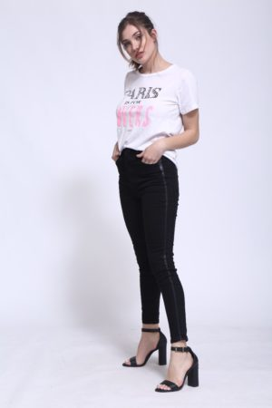 jeans con franjas laterales mujer verano 2020 by Ona Saez