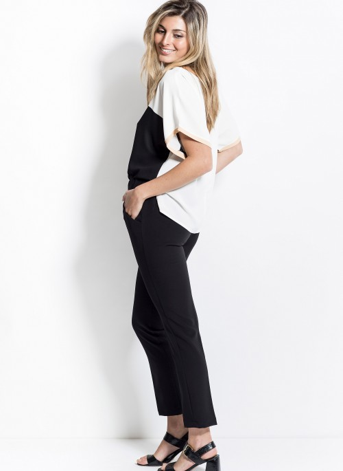 mujer verano 2020 Activity pantalon recto egro y remera en blanco y negro