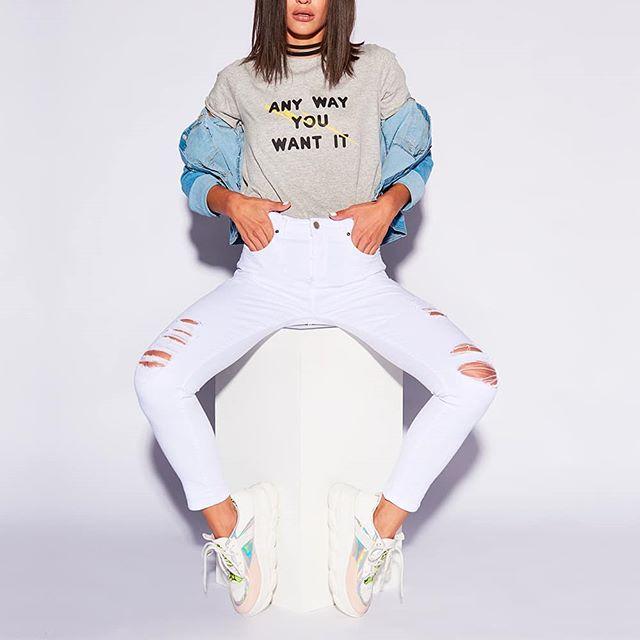 pantalon blanco con roturas Nahana Jeans verano 2020