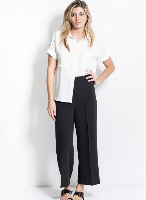 pantalon crep negro y camisa blanca mujer verano 2020 Activity