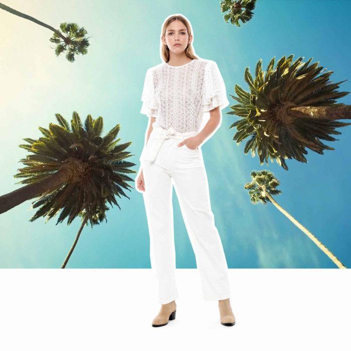 remera blanca y pantalon blanco con lazo Melocoton verano 2020