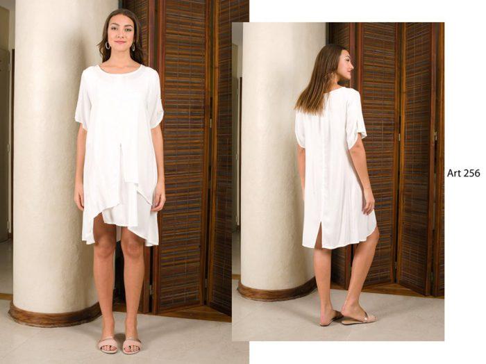 vestido blanco informal asimetrico señoras Arauz verano 2020
