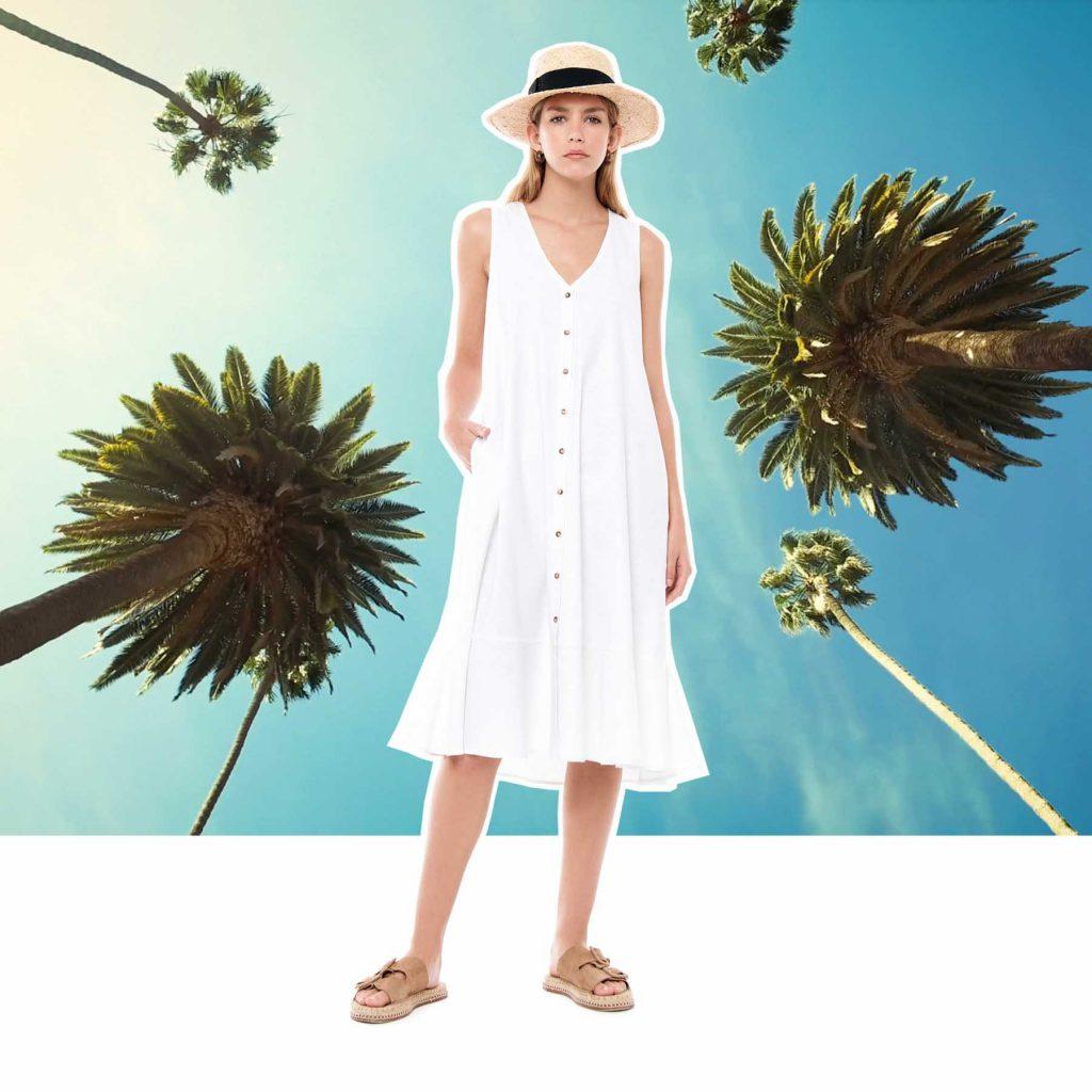 vestido blanco informal melocoton verano 2020