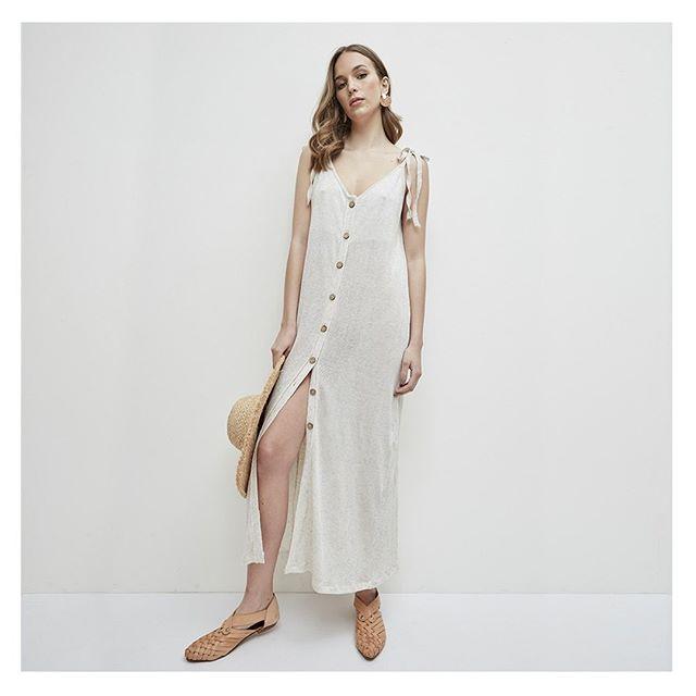 vestido camisero largo tejidas en hilo verano 2020 Agustina Bianchi