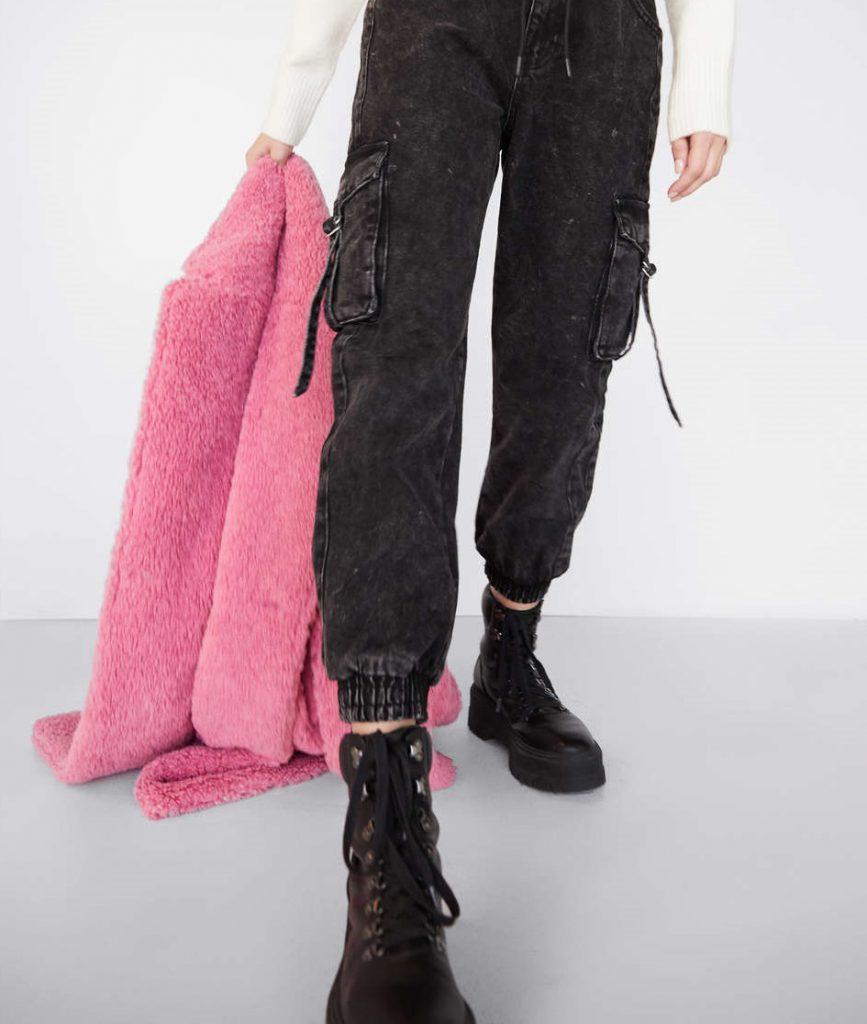 saco simil piel rosa coral invierno 2020