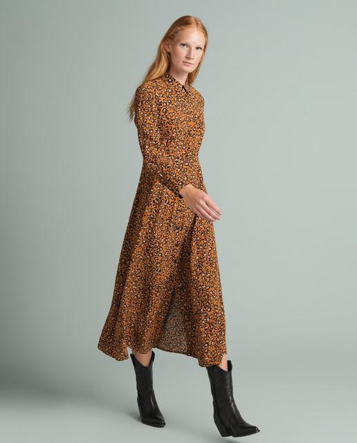 vestido animal print con naranja para el dia invierno 2020