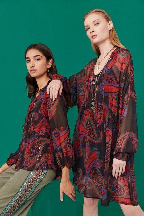 vestidos y blusas de gasa estampada Rapsodia otoño invierno 2020
