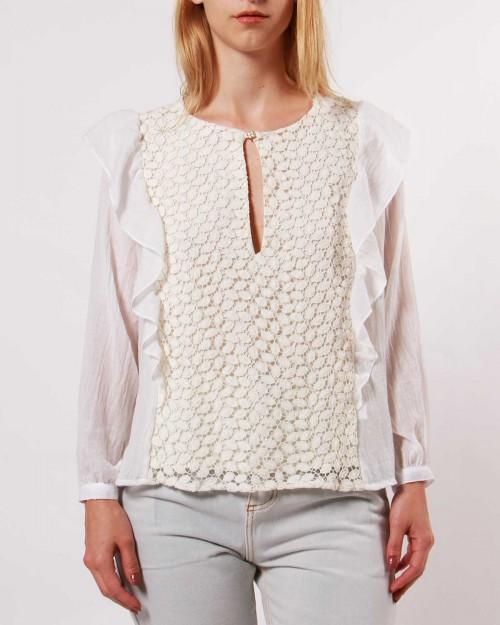 blusa blanca mangas largas invierno 2020 Wanama