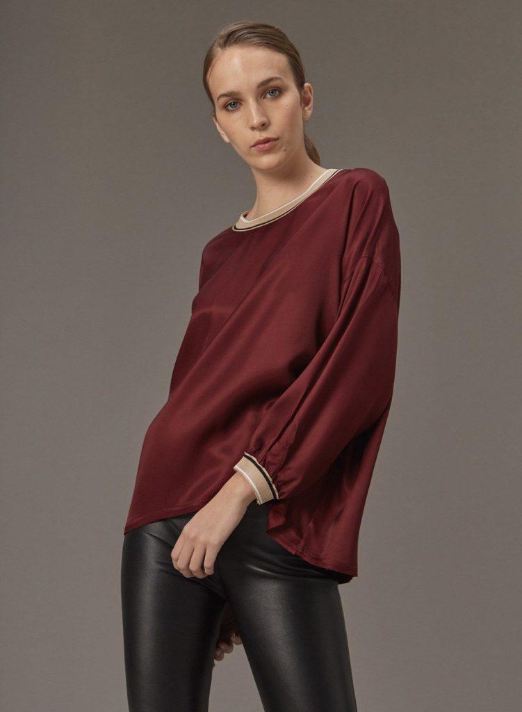 blusa de seda con puños Etiqueta negra mujer invierno 2020