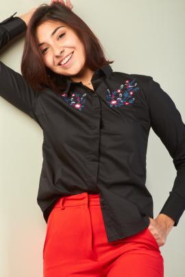camisa con bordado en hilo kevingston mujer invierno 2020