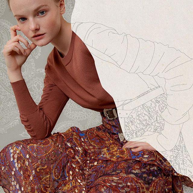 falda larga estampada con buzo de hilo maria cher invierno 2020