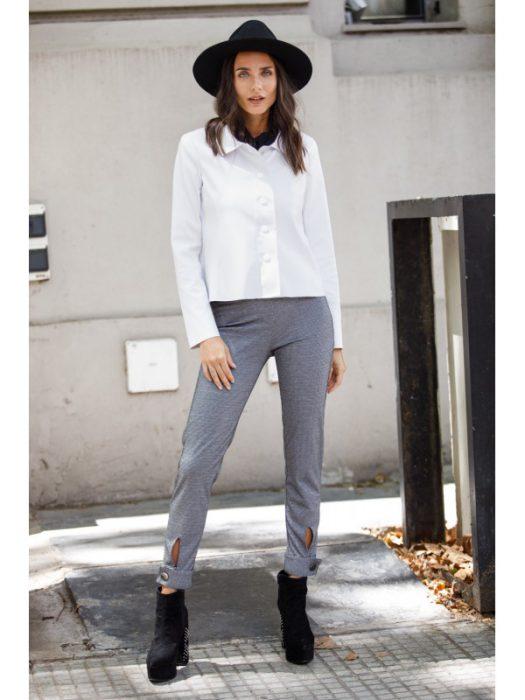 look con pantaon gris brasco invierno 2020
