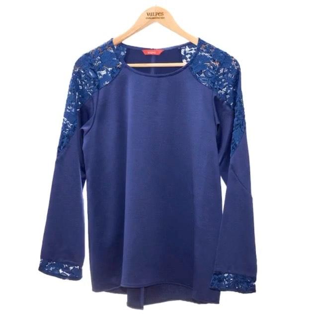 remera mangas largas azul para señora con encaje invierno 2020 Vulpes indumentaria