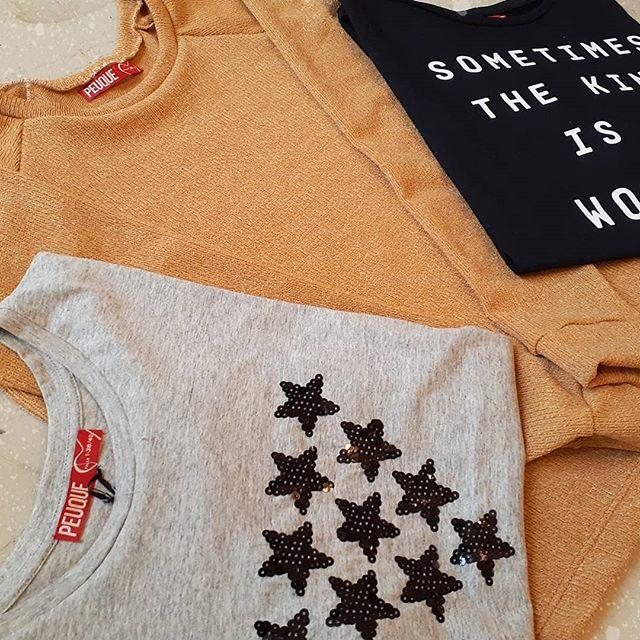remeras de algodon juveniles con estrellas de lentejuelas Peuque invierno 2020