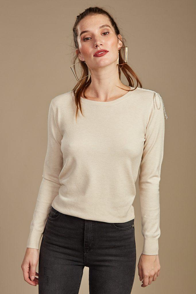 sweater con apliques Cuesta Blanca otoño invierno 2020