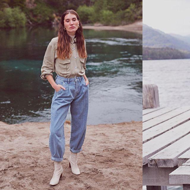 babucha jeans con camisa gabardina Le Utthe invierno 2020