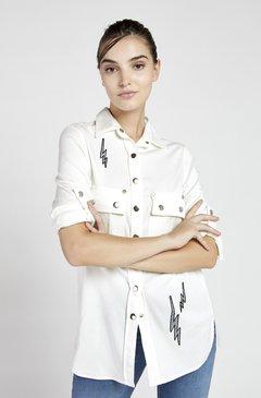 camisa blanca bordada vesna invierno 2020