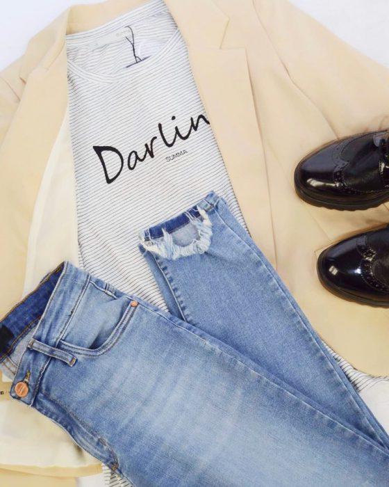 jeans roto con blazer mujer Summa otoño invierno 2020
