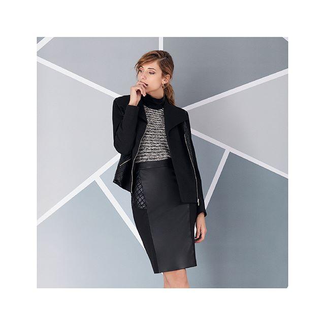 saco jaquard y falda de cuero invierno 2020 Ted Bodin