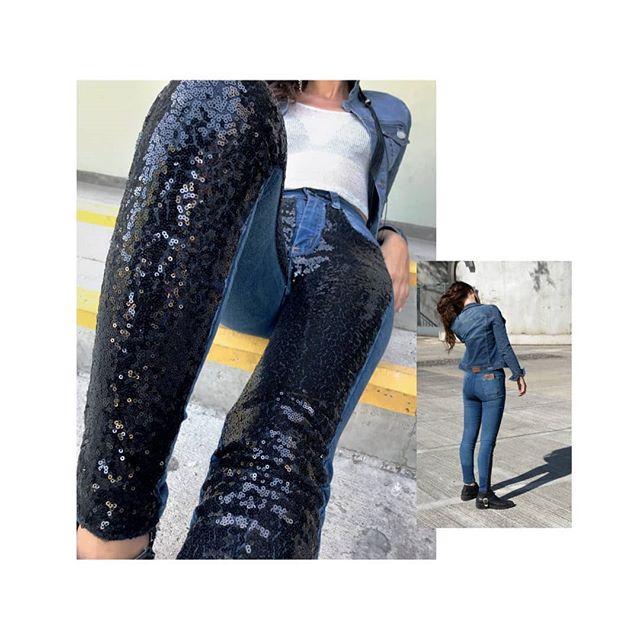 jeans con lentejuelas mujer Diosa Luna invierno 2020