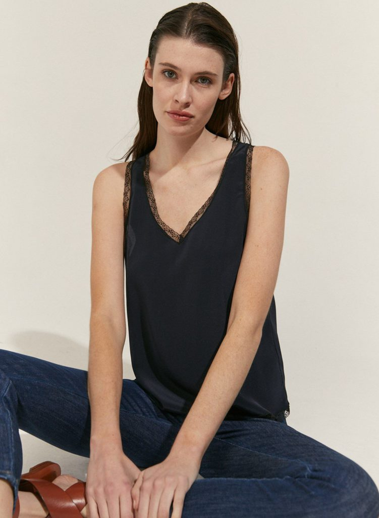 blusa musculosa de seda verano 2021 Etiqueta Negra