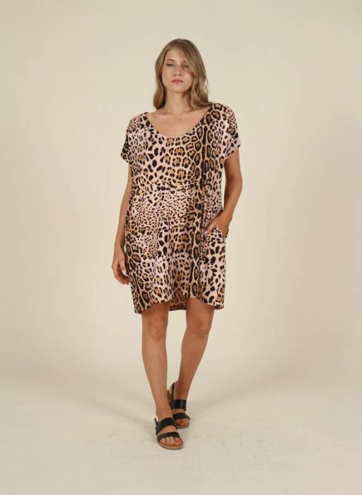 vestido tunica corto animal print mujer nucleo verano 2021