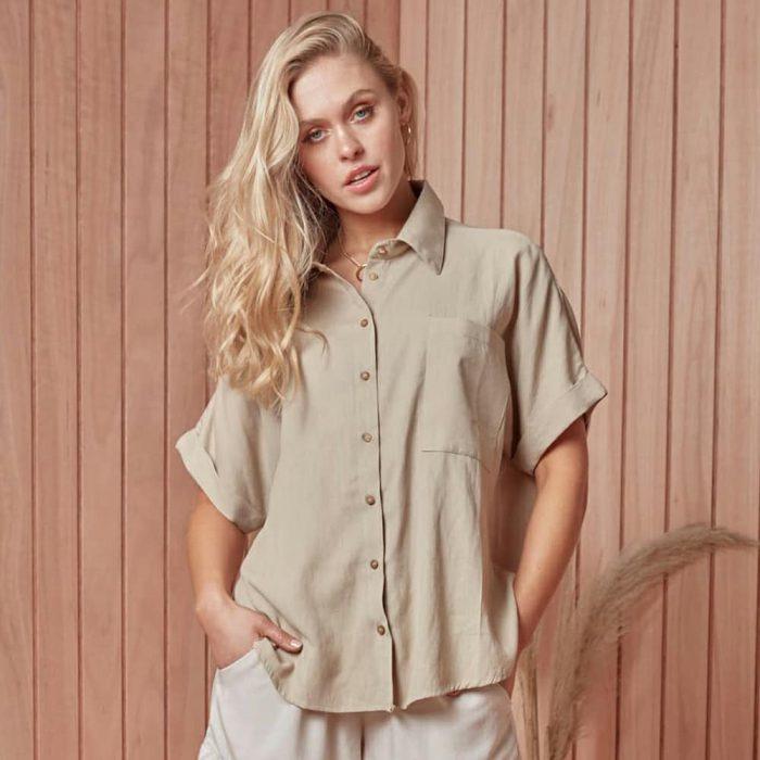 camisa lino para mujer primavera verano 2021 Peuque jeans