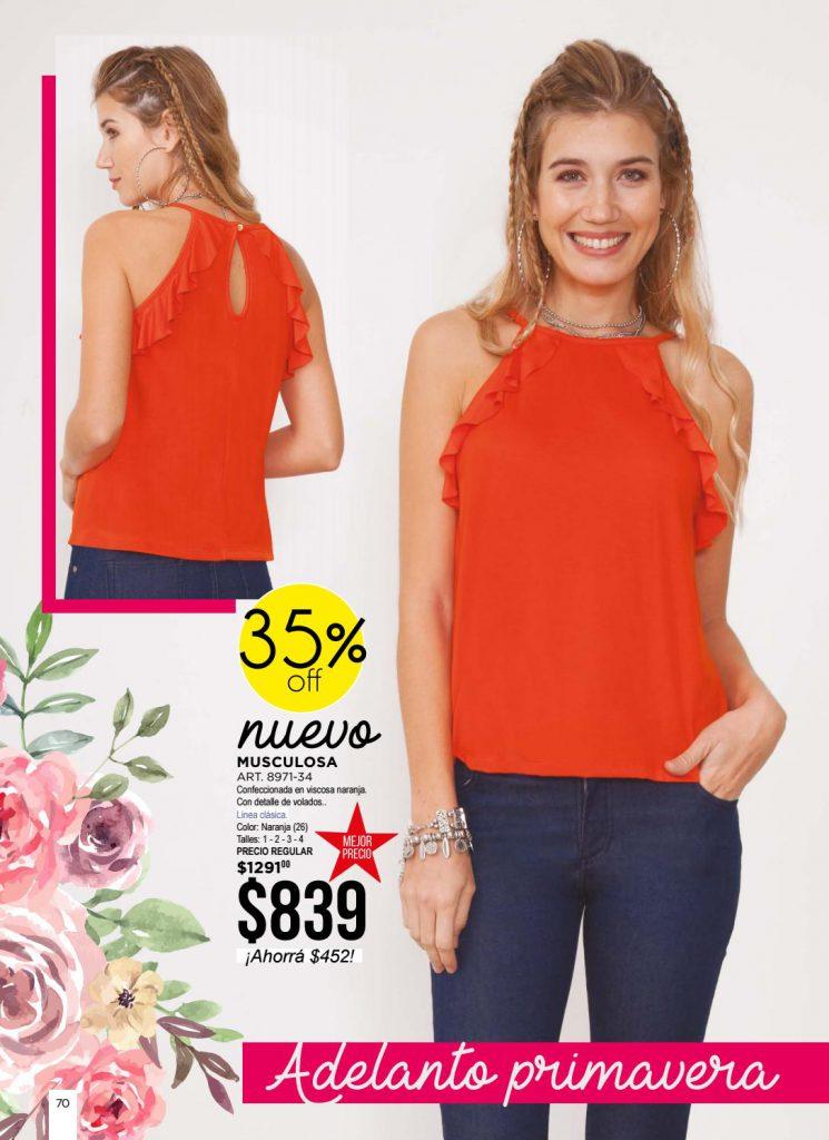 musculosa remera naranja juana bonita primavera verano 2021